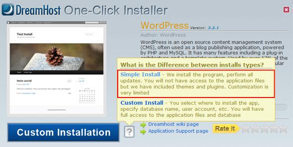DreamHost One-Click installer