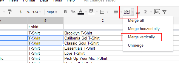 Google Docs Spreadsheet Merge Vertically Button