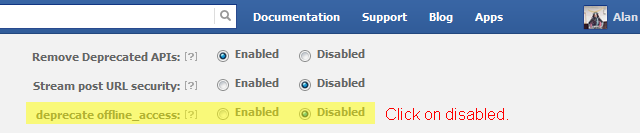 Set deprecate offline_access to disabled