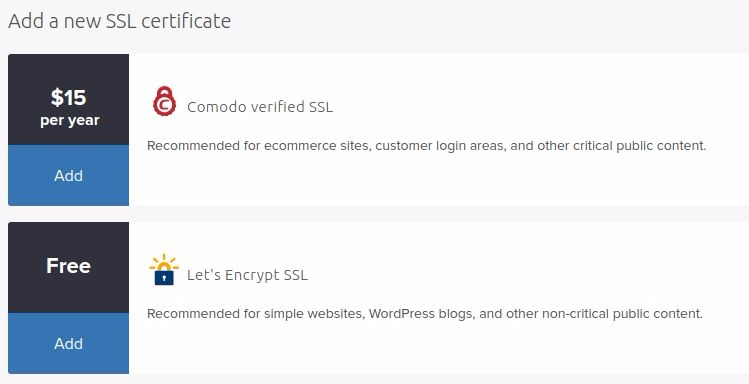 Add a new SSL certificate